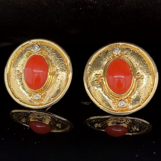 Coral And Diamond Button Clip Earrings 2