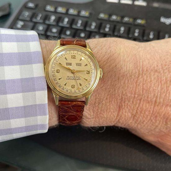 Movado Caledormatic Gold Strap Watch 7
