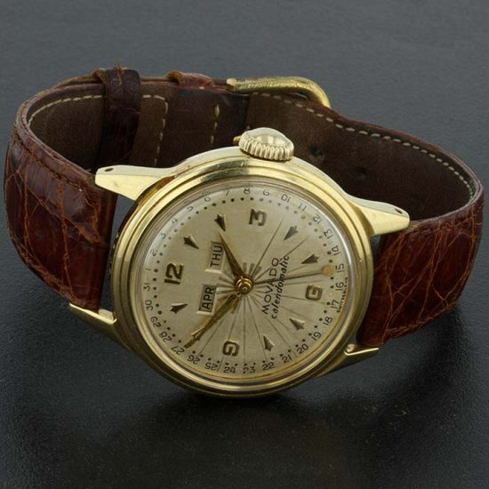 Movado Caledormatic Gold Strap Watch 2