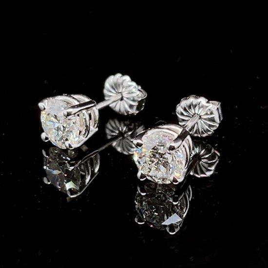 White Gold Diamond Stud Earrings 2
