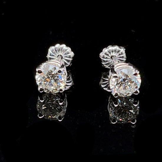 White Gold Diamond Stud Earrings 1