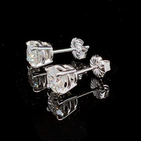 White Gold Diamond Stud Earrings 3