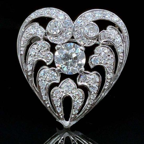 Edwardian Diamond Heart Drop Pendant / Pin 3