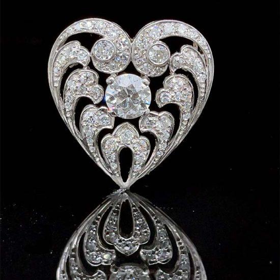 Edwardian Diamond Heart Drop Pendant / Pin 1