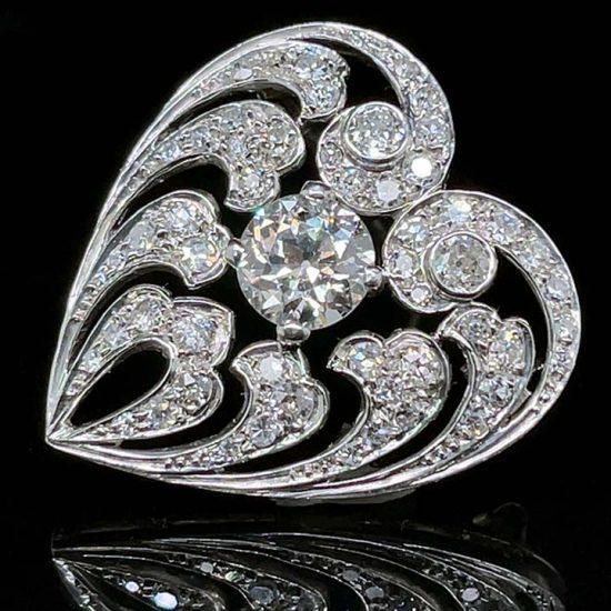 Edwardian Diamond Heart Drop Pendant / Pin 8