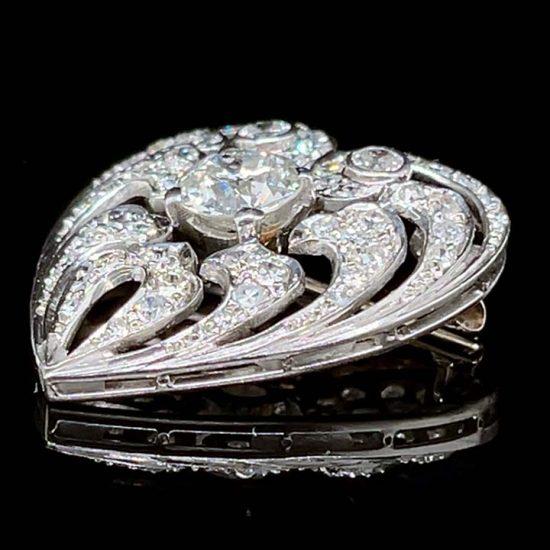 Edwardian Diamond Heart Drop Pendant / Pin 6