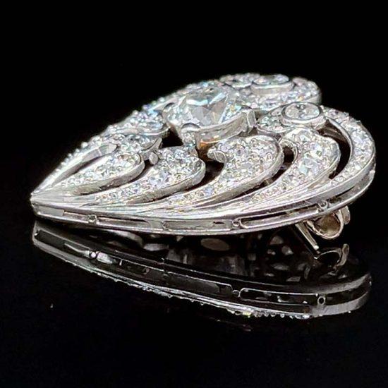 Edwardian Diamond Heart Drop Pendant / Pin 5