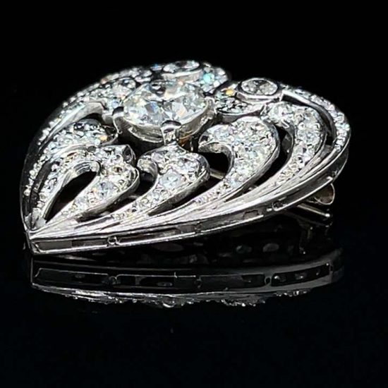 Edwardian Diamond Heart Drop Pendant / Pin 4