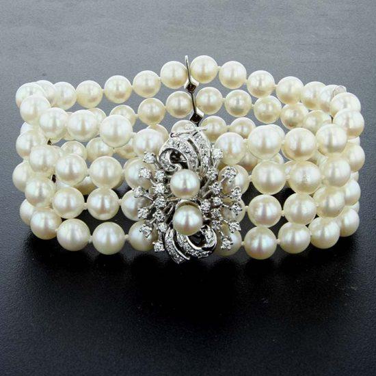 4 Row Pearl And Diamond Bracelet 1