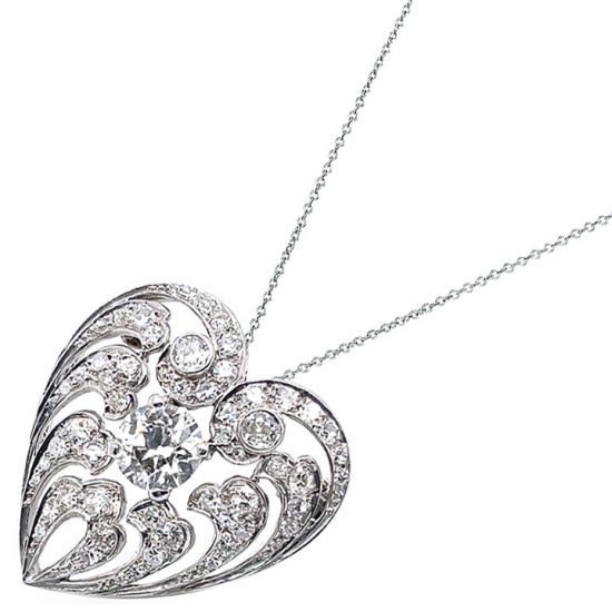 Edwardian Diamond Heart Drop Pendant / Pin 2
