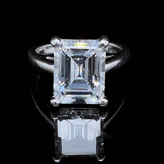 Emerald Cut Diamond Solitaire Platinum Ring 1