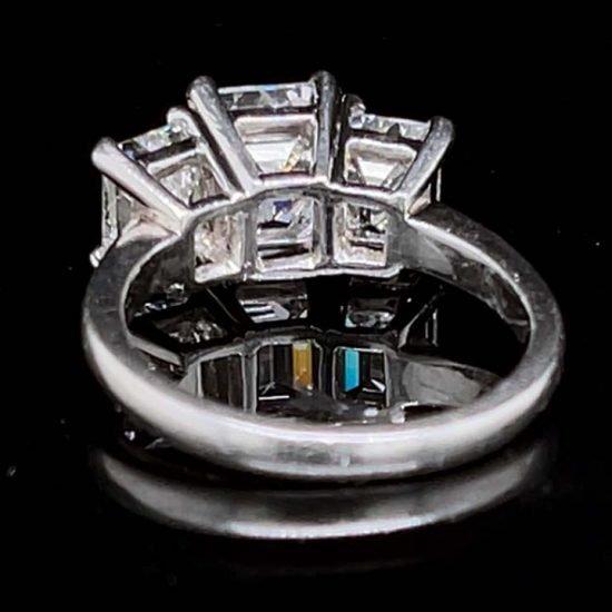 Platinum Emerald Cut Diamond 3 Stone Ring 4