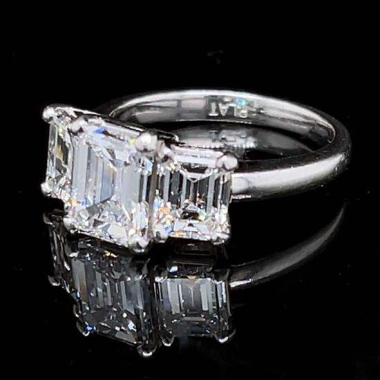 Platinum Emerald Cut Diamond 3 Stone Ring 3