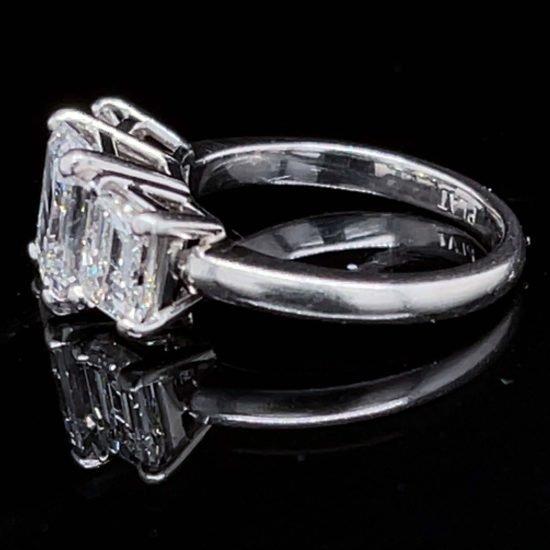 Platinum Emerald Cut Diamond 3 Stone Ring 2