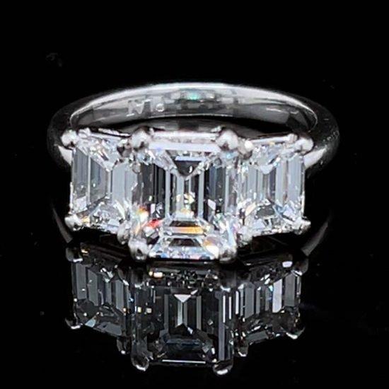 Platinum Emerald Cut Diamond 3 Stone Ring 1