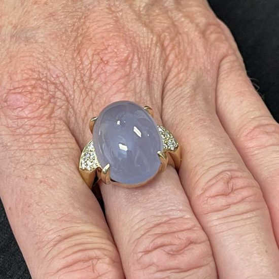 Gumps Yellow Gold Lavender Chalcedony Ring 2