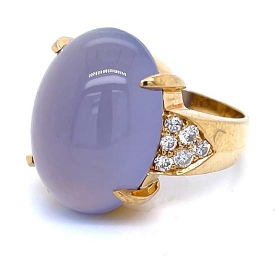 Gumps Yellow Gold Lavender Chalcedony Ring 3