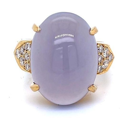Gumps Yellow Gold Lavender Chalcedony Ring 1