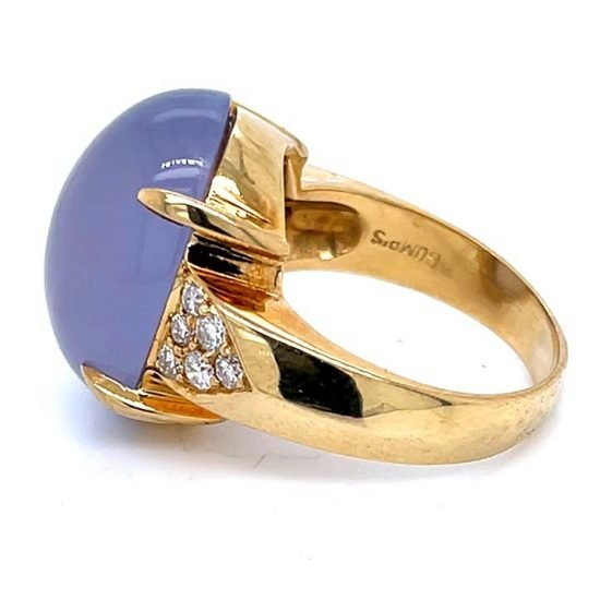 Gumps Yellow Gold Lavender Chalcedony Ring 4