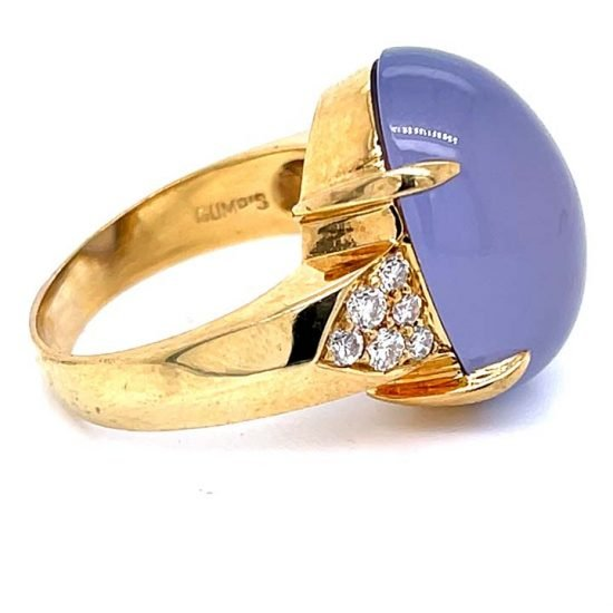 Gumps Yellow Gold Lavender Chalcedony Ring 5