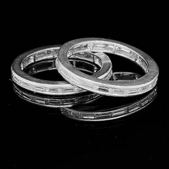 Platinum Baguette Cut Diamond Wedding Bands 1