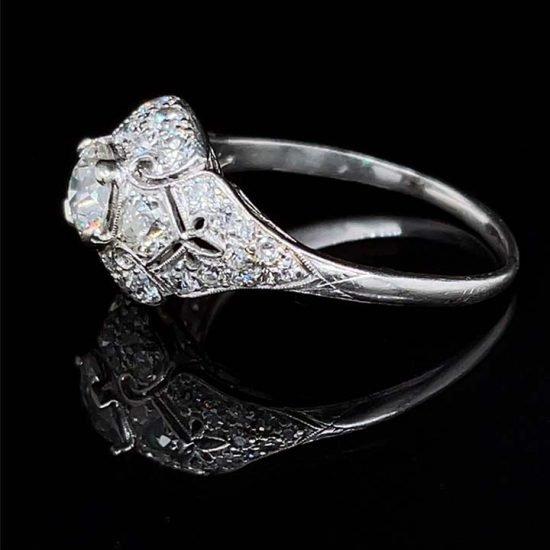 Platinum Filigree Diamond Edwardian Ring 7