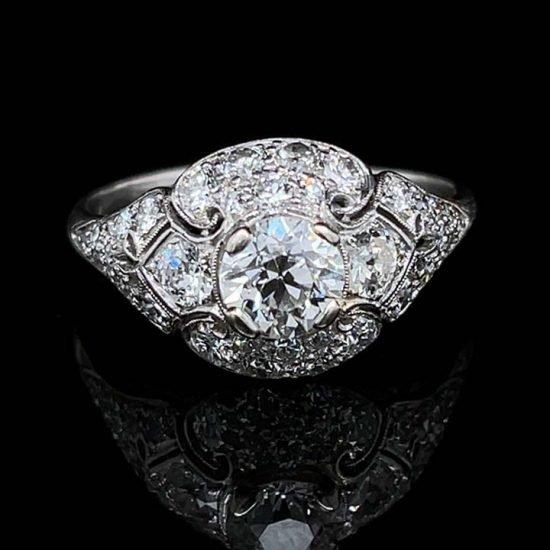 Platinum Filigree Diamond Edwardian Ring 6