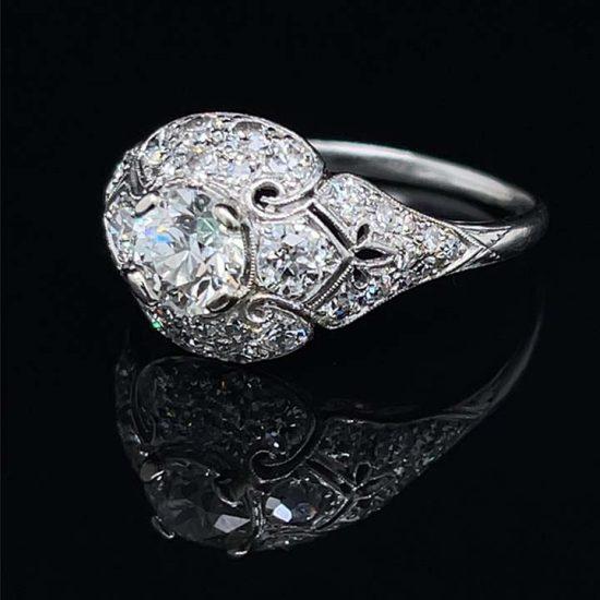 Platinum Filigree Diamond Edwardian Ring 8