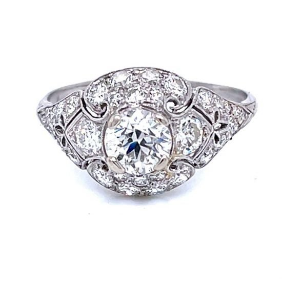 Platinum Filigree Diamond Edwardian Ring 1