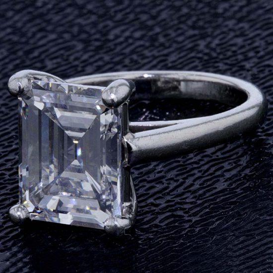 Emerald Cut Diamond Solitaire Platinum Ring 6
