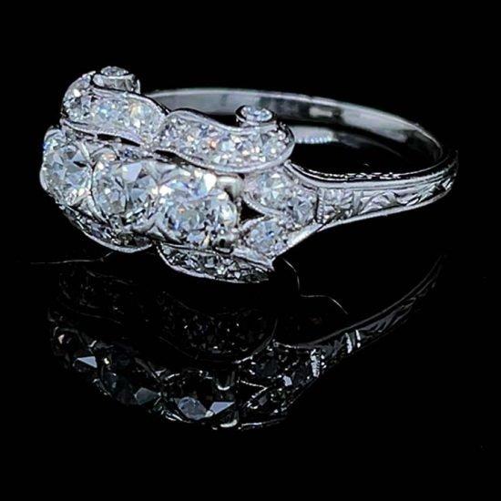Platinum Edwardian Platinum 3 Stone Diamond Ring 4
