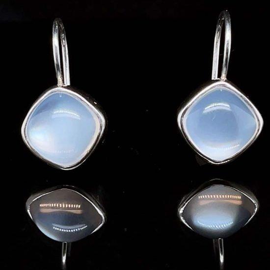 Platinum Moonstone Drop Earrings 1