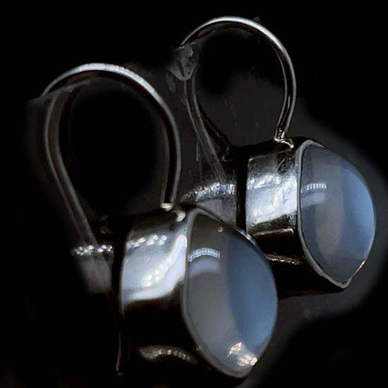 Platinum Moonstone Drop Earrings 2