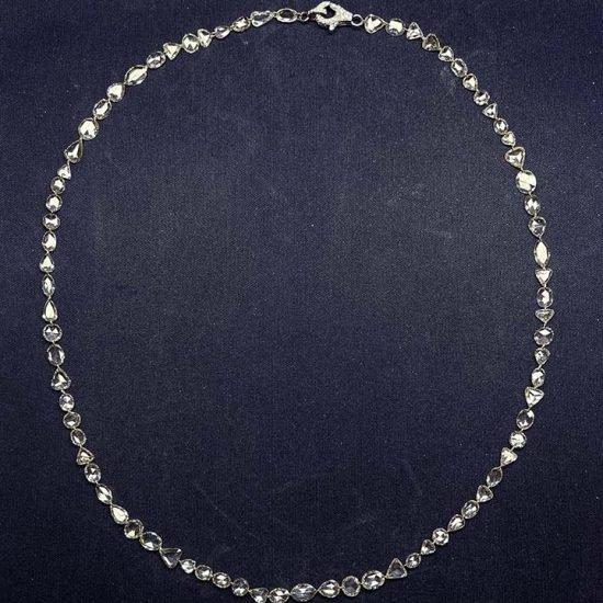 Briolette Diamond Necklace With Pave Clasp. 1