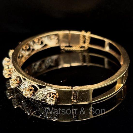 Old Mine Cut Diamond Bangle Bracelet 2