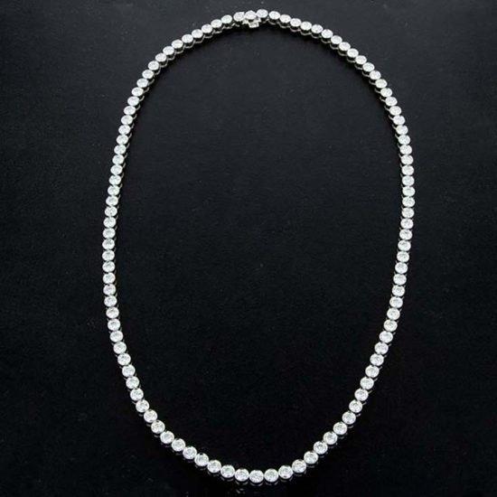 White Gold Bezel Set Diamond Riviera Necklace 1