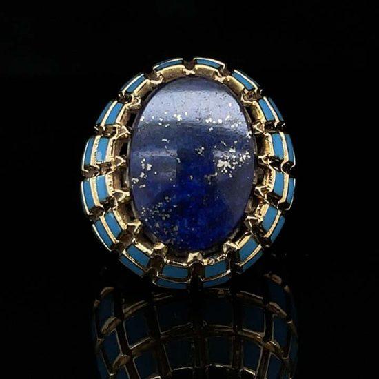 Yellow Gold Lapis And Blue Enamel Ring 2