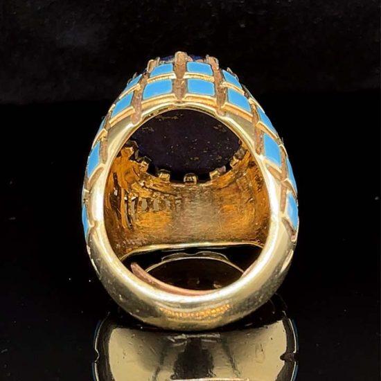 Yellow Gold Lapis And Blue Enamel Ring 8