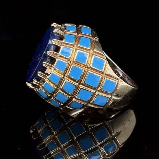 Yellow Gold Lapis And Blue Enamel Ring 6