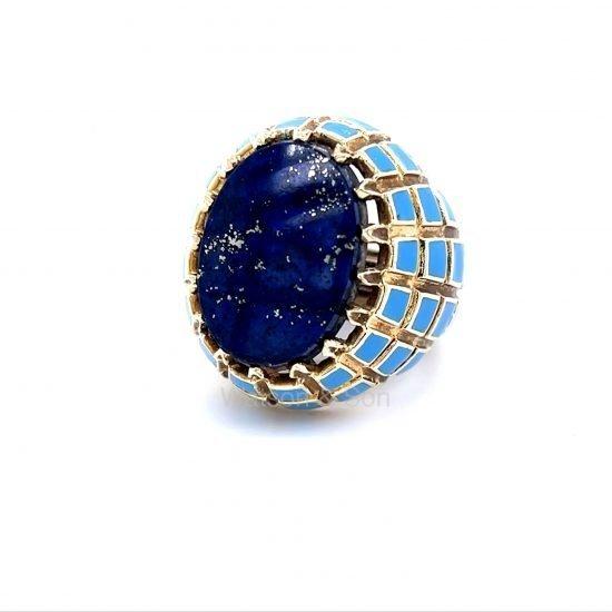Yellow Gold Lapis And Blue Enamel Ring 5
