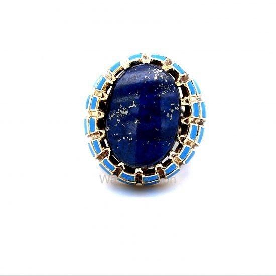 Yellow Gold Lapis And Blue Enamel Ring 3
