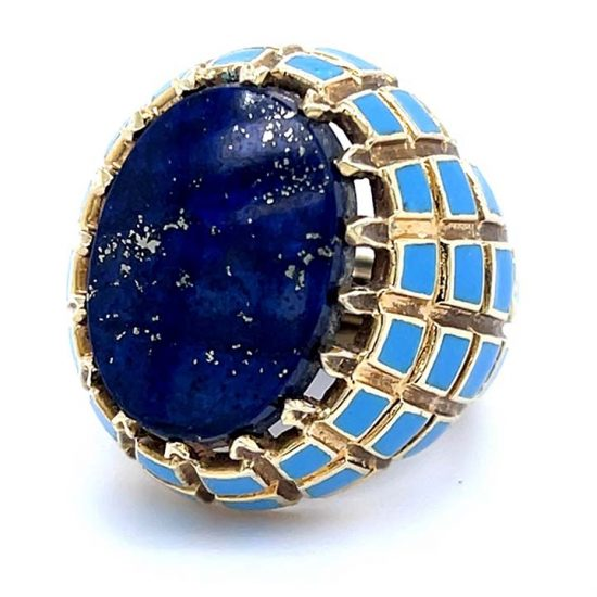 Yellow Gold Lapis And Blue Enamel Ring 1