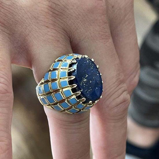 Yellow Gold Lapis And Blue Enamel Ring 7
