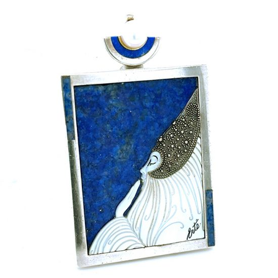 Erte &Quot;Beloved&Quot; Sterling Silver Lapis And Mother Of Pearl Pendant / Pin 2