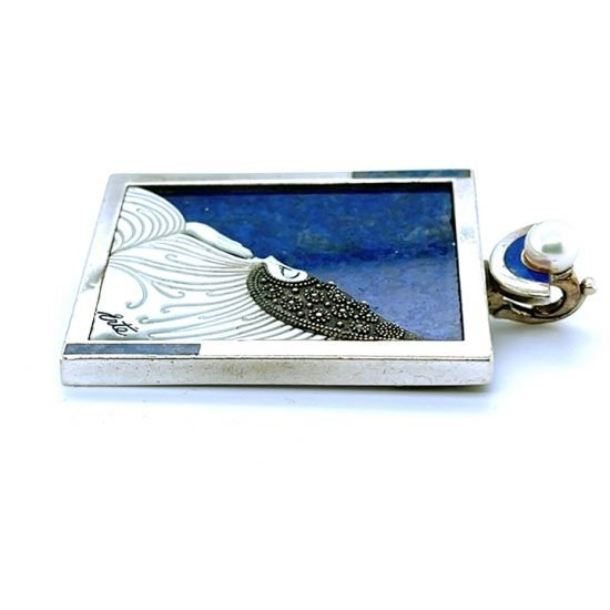 Erte &Quot;Beloved&Quot; Sterling Silver Lapis And Mother Of Pearl Pendant / Pin 6