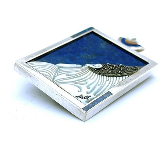 Erte &Quot;Beloved&Quot; Sterling Silver Lapis And Mother Of Pearl Pendant / Pin 5