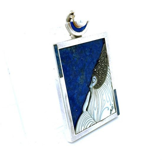 Erte &Quot;Beloved&Quot; Sterling Silver Lapis And Mother Of Pearl Pendant / Pin 3