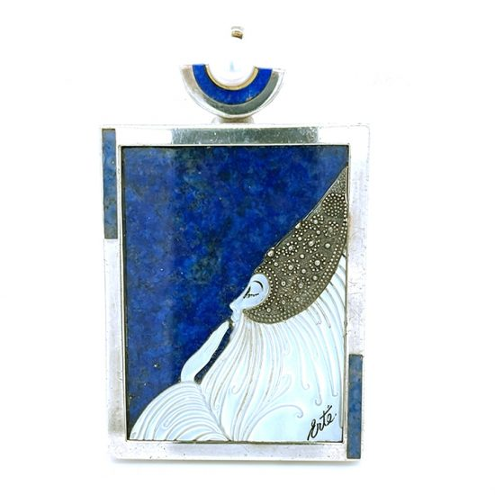 Erte &Quot;Beloved&Quot; Sterling Silver Lapis And Mother Of Pearl Pendant / Pin 1