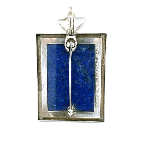 Erte &Quot;Beloved&Quot; Sterling Silver Lapis And Mother Of Pearl Pendant / Pin 4